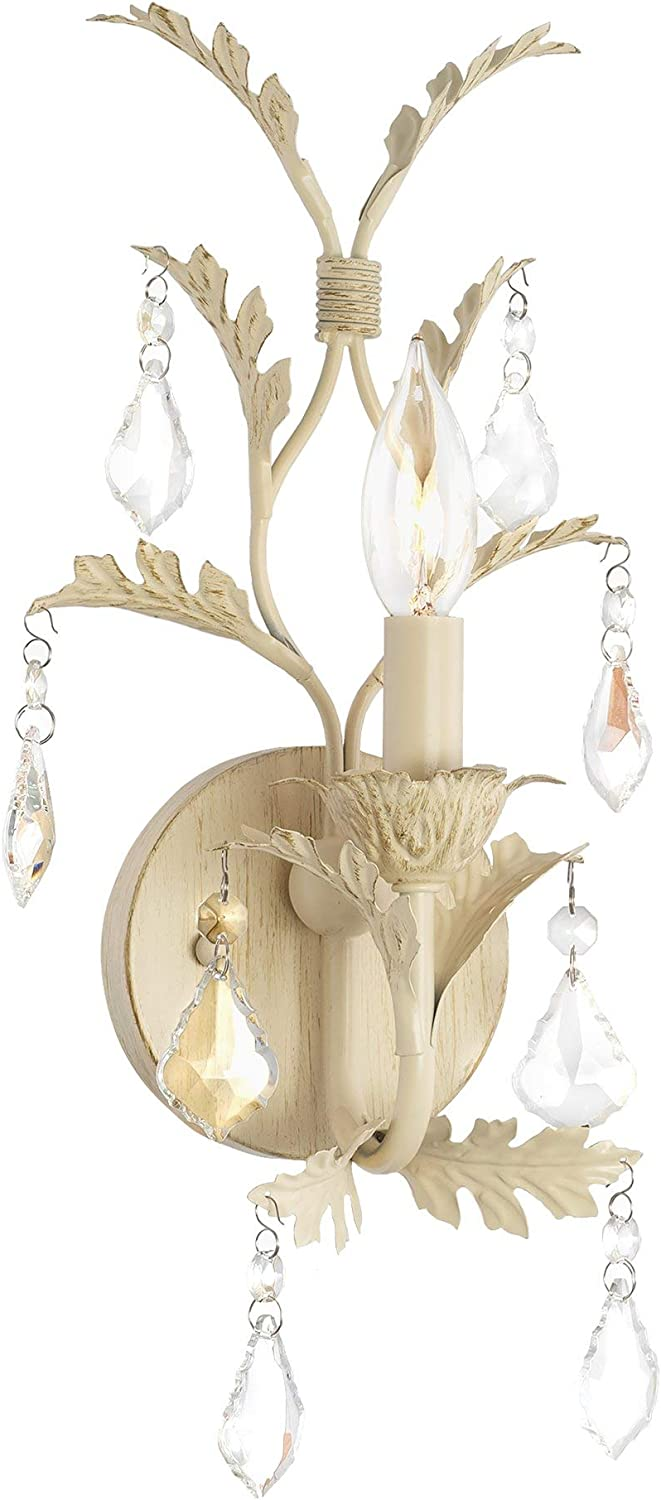 Distressed White French crystal wall sconce