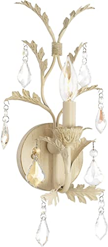 Kira Home Astoria 13 French Country Wall Sconce, Shabby Chic Crystal Wall Light Leaf Design, Antique White Finish