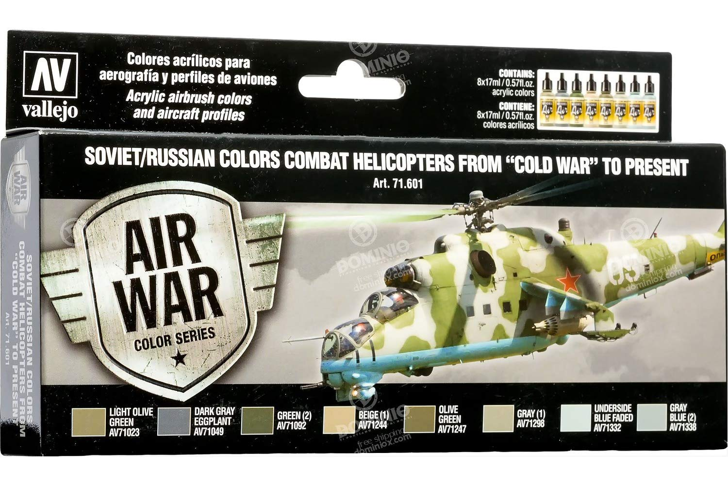 Vallejo VJ71601 Air Color Series Soviet/Russian Combat Helicopters from Cold War to Present Toy, Multicolor
