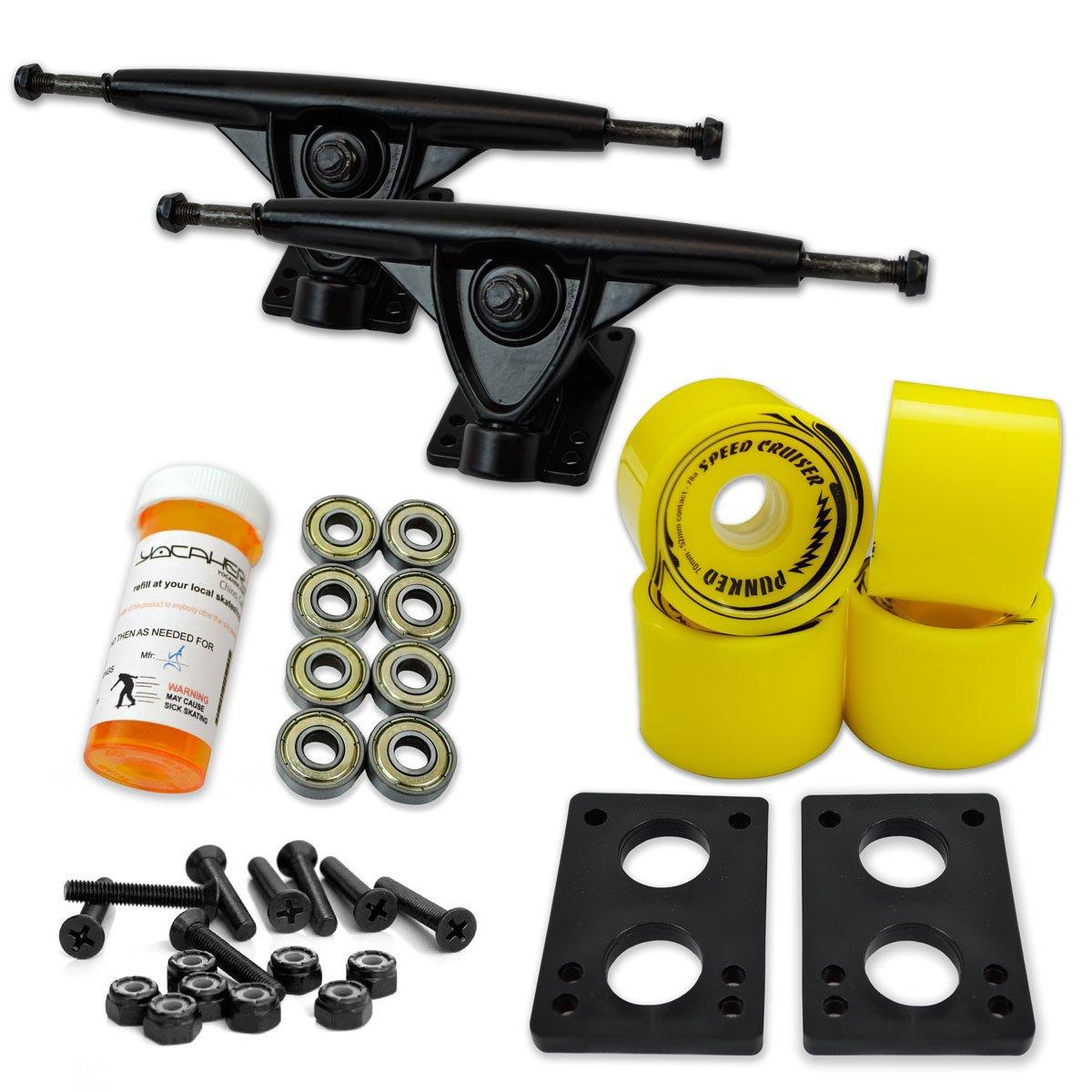 Yocaher LONGBOARD Skateboard TRUCKS COMBO set w/ 71mm WHEELS + 9.675'' Polished/Black trucks Package, Solid Yellow Wheel, Polished Trucks by Yocaher