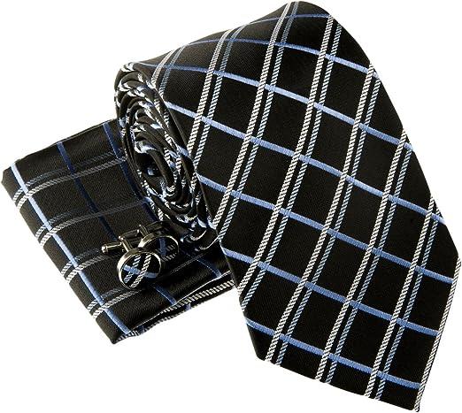 Men/'s Fashion Check /& Plaid Tie Silk Woven Necktie Trendy Handkerchief Sets Gift