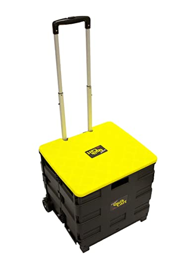 Perfect Quik Cart Two Wheeled Collapsible Handcart With Yellow Lid Rolling Utility  Cart With Seat Heavy