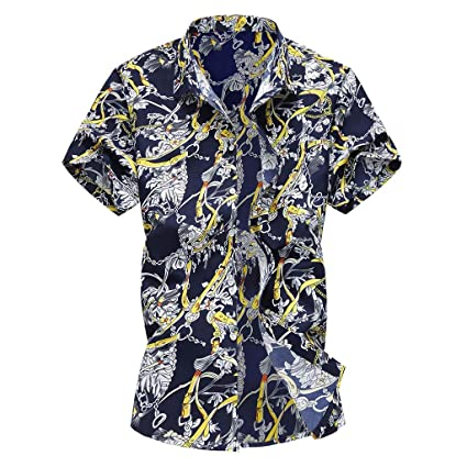 5d92c1312f24d Amazon.com  YKARITIANNA Summer New Men Casual Summer Printed Button ...