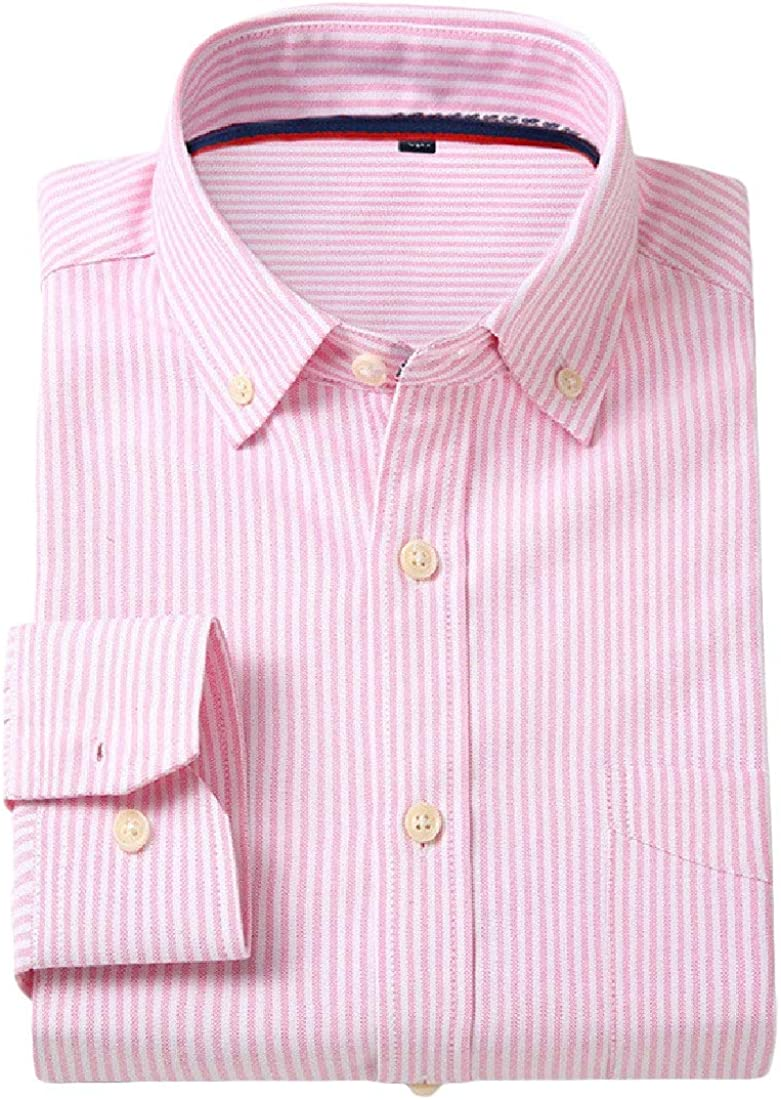 Macondoo Mens Casual Long-Sleeve Slim Fit Work Button-Down Pure Color Shirt