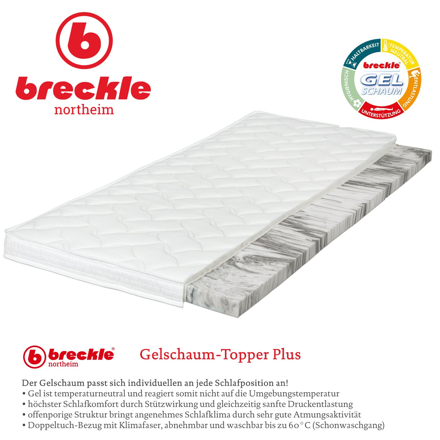 Breckle Gelschaum Topper Plus Grosse 200x200 Cm