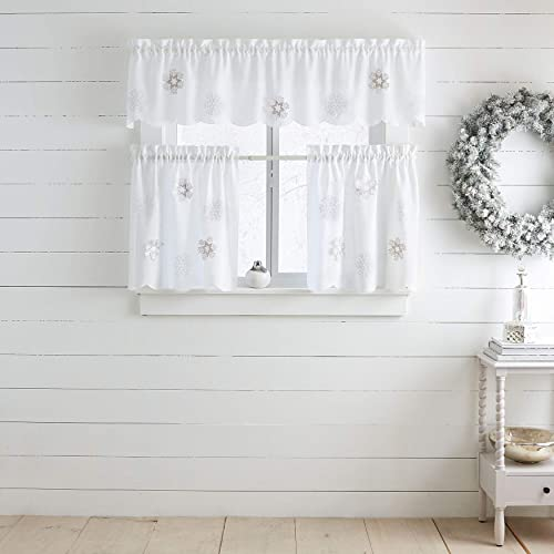BrylaneHome Snowflake Applique Valance Curtain, White