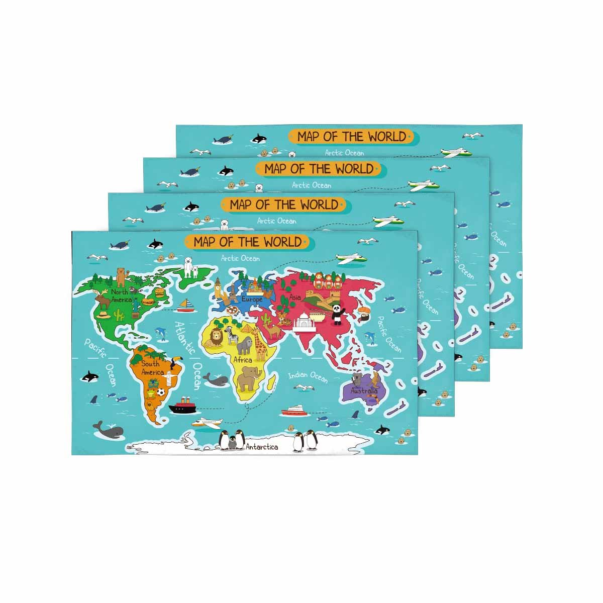 InterestPrint Animal Map of the World Map Kids Education Learning Placemat Table Mats Set of 4, Heat Resistant Place Mat for Dining Table Restaurant Home Kitchen Decor 12''x18''