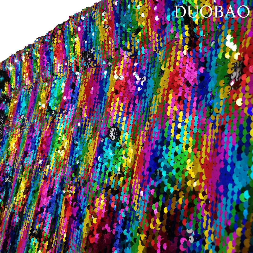 DUOBAO Sequin Backdrop 8Ft Rainbow to Silver Mermaid Sequin Backdrop Fabric 6FTx8FT Two Tone Sequin Curtains