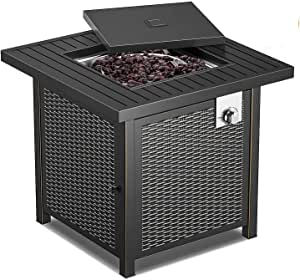 Outdoor Heating, Propane Fire Pit Table, 28 Inch 50,000 BTU Auto-Ignition Gas Fire Pit Table with Lid, Intellective Control, ETL Certification, Table in Summer, Stove in Winter