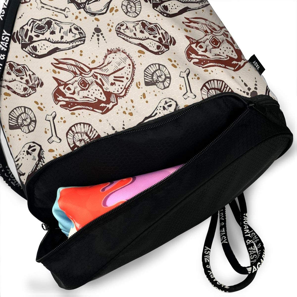 GymSack Drawstring Bag Sackpack Dinosaur Skull Print Sport Cinch Pack Simple Bundle Pocke Backpack For Men Women