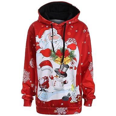 DOGZI Mujer Estampado de Santa Claus Capucha Navidad Sudaderas con Capucha Camisa de Entrenamiento Tops Pull-Over Cordón Jersey Mujer Invierno Abrigos ...
