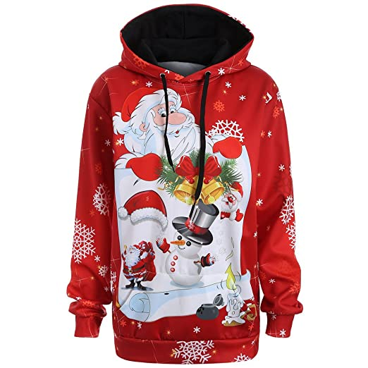 e08bbcdb4b Amazon.com: Clearance Christmas Hooded for Women FEDULK Santa Claus Print  Snowman Snowflake Tree Bell Gifts Pullover Blouse Tops: Clothing
