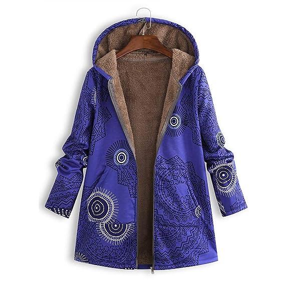 Damen Winter Warm Outwear Blumendruck mit Kapuze Taschen,TWIFER Vintage Oversize Coats