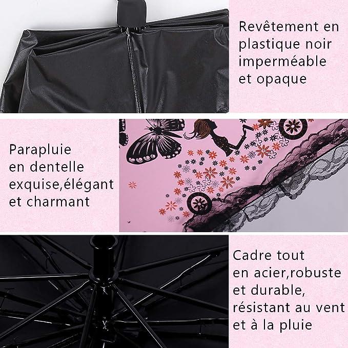LAAT Parapluie Pliant Parapluie de Voyage Pliant Forme Romantique Parapluie de Pluie Parapluie Cadre Parapluie pour Les Femmes et Les Filles
