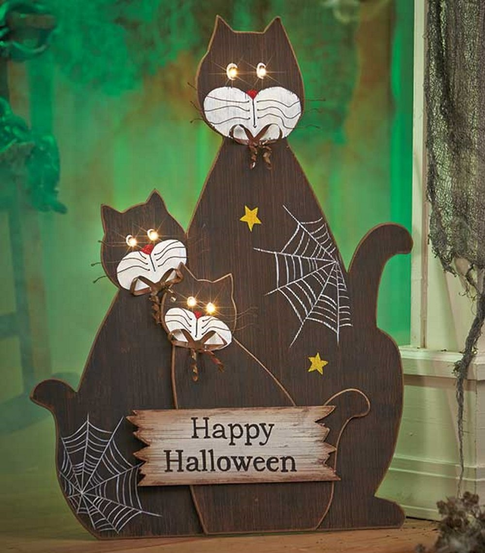 Lakeside Collection Lighted Black Cats Halloween Scene