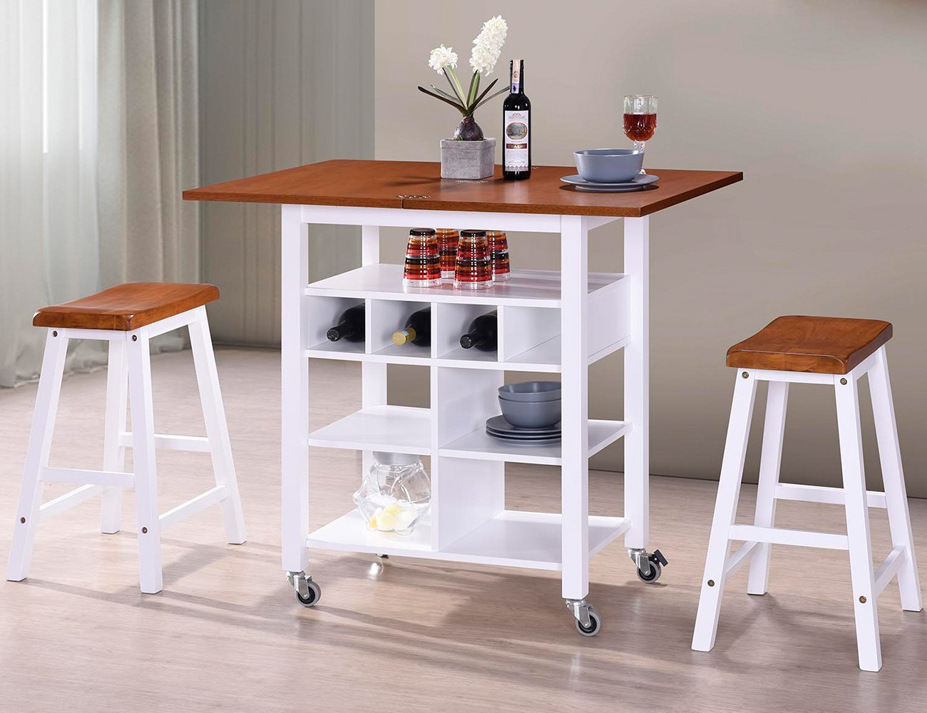 Harper&Bright Designs WF038521LAA Phoenix Series Dining 3-Piece Set with Storage Shelves, Folding Table Top and 2 Locking Castors (Oak and White)