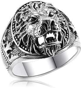 Anillo para hombre de Materia, cabeza de león, plata de ley 925 ...