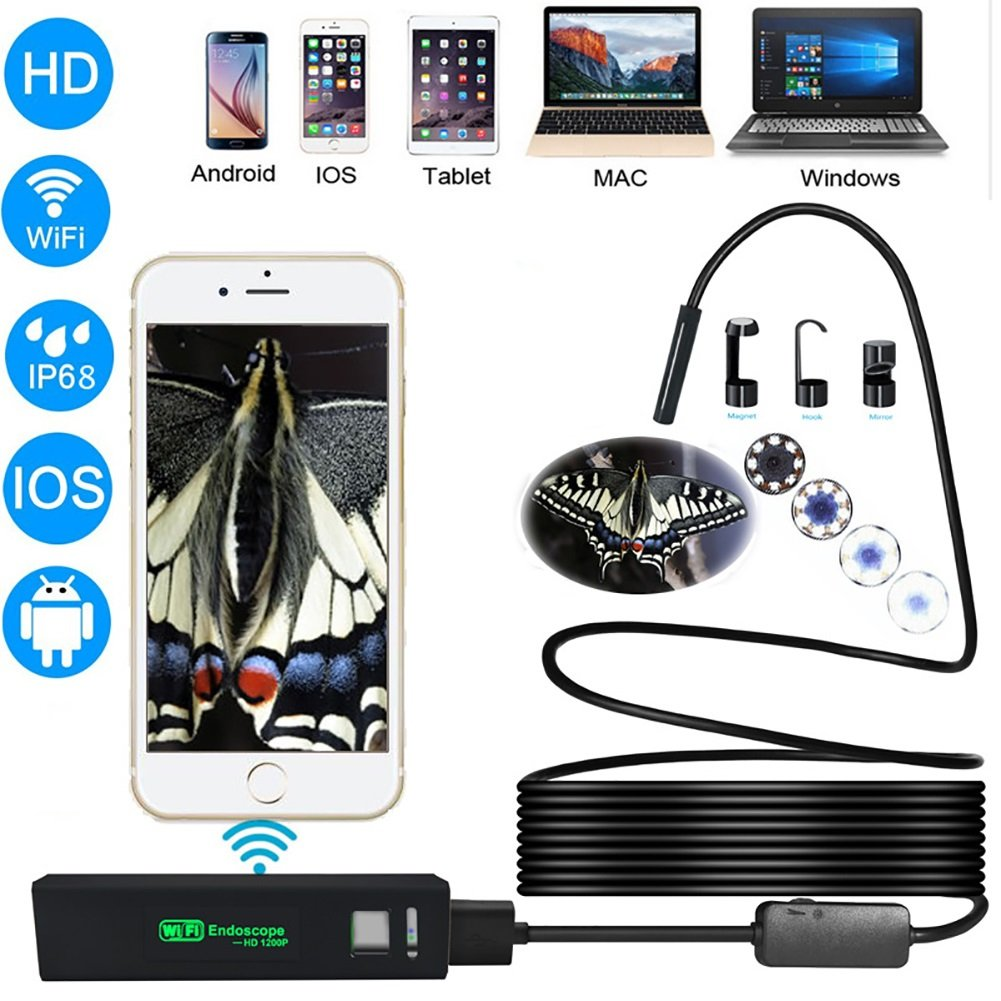 XiYunHan WIFI Endoscope, Wireless Camera 2 Megapixel 1200P HD, Waterproof IP68 Adjustable 8 LED 850mAh iOS Android Smartphone PC