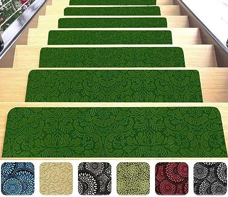 Felpudos interiores de diseño para escalera, alfombra de microfibra ultrafina con reverso de goma antideslizante, rápidos y fáciles de instalar, aptos para lavadora, calidad prémium: Amazon.es: Hogar