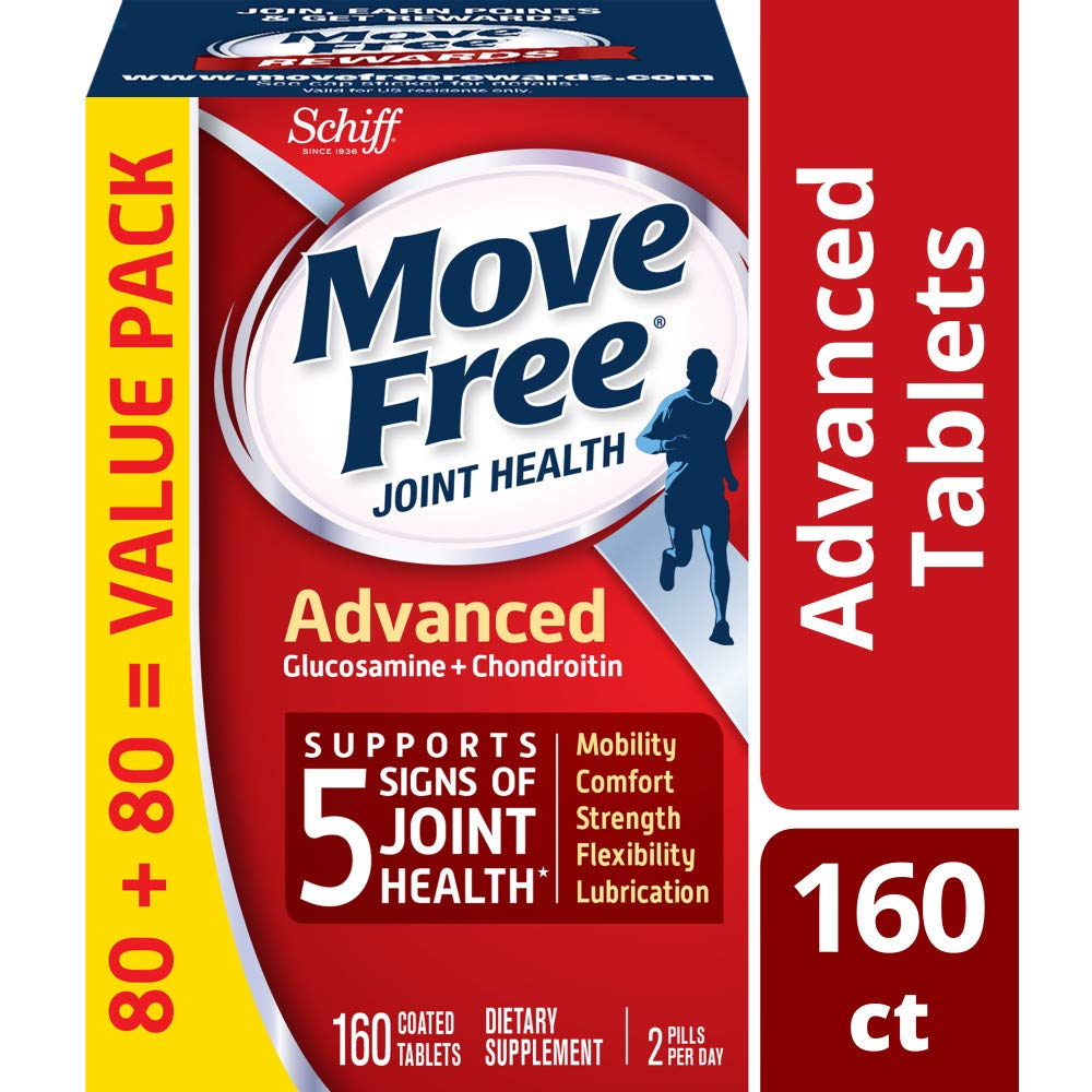 Glucosamine & Chondroitin Advanced Joint Health Supplement Tablets, Move Free (160 count in a bottle), Supports Mobility, Flexibility, Strength, Lubrication and Comfort