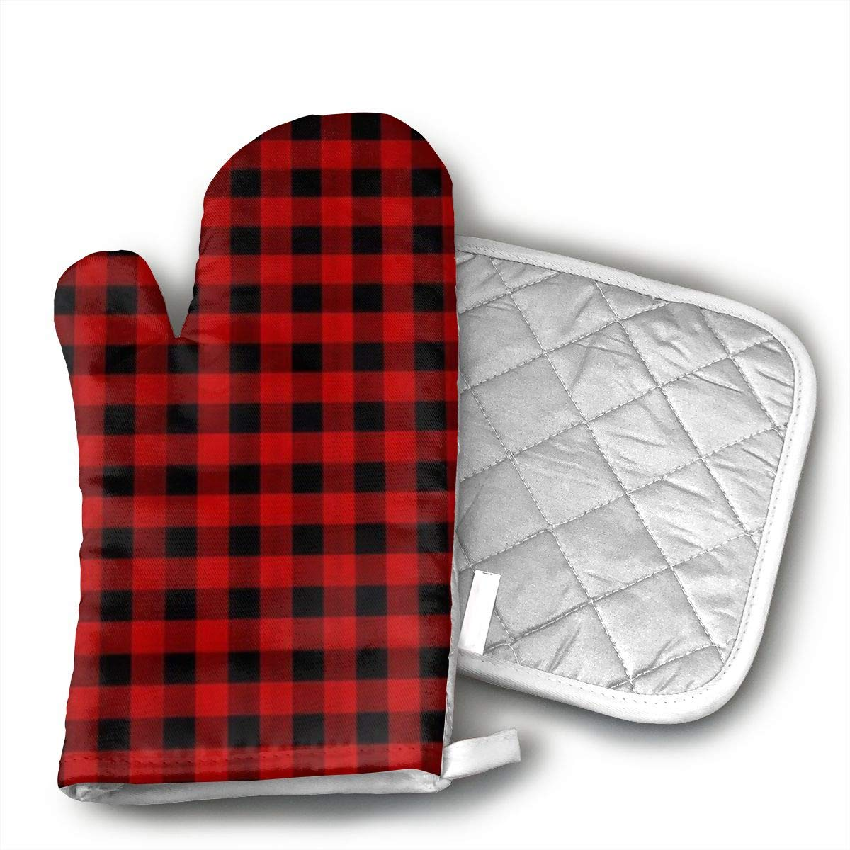 FGXQN Custom Rustic Red Black Buffalo Check Plaid Pattern Oven Mitts Cotton Quilting Lining, Oven Gloves and Pot Holders Kitchen Set for BBQ Cooking Baking, Grilling, Barbecue,
