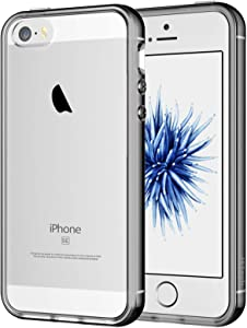 JETech Case for iPhone SE 2016 (Not for 2020), iPhone 5s and iPhone 5, Shockproof Bumper Cover, Anti-Scratch Clear Back, Grey