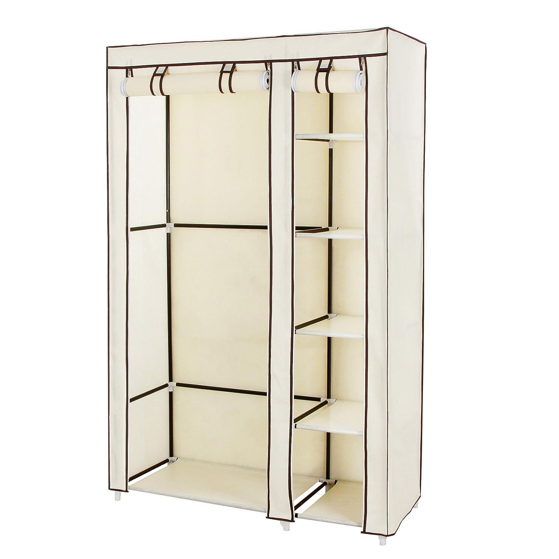 Portable wardrobe on wheels - Amazon Com Songmics Clothes Closet Portable Wardrobe Storage Organizer With Shelves Beige 43 Ulsf007m Home Kitchen