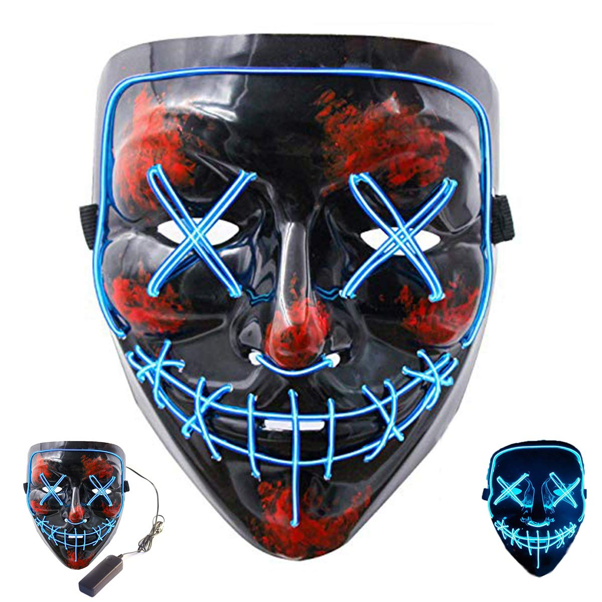 Halloween Scary Mask Led Cosplay Costume Mask EL Wire Light up Mask for Halloween Festival Parties