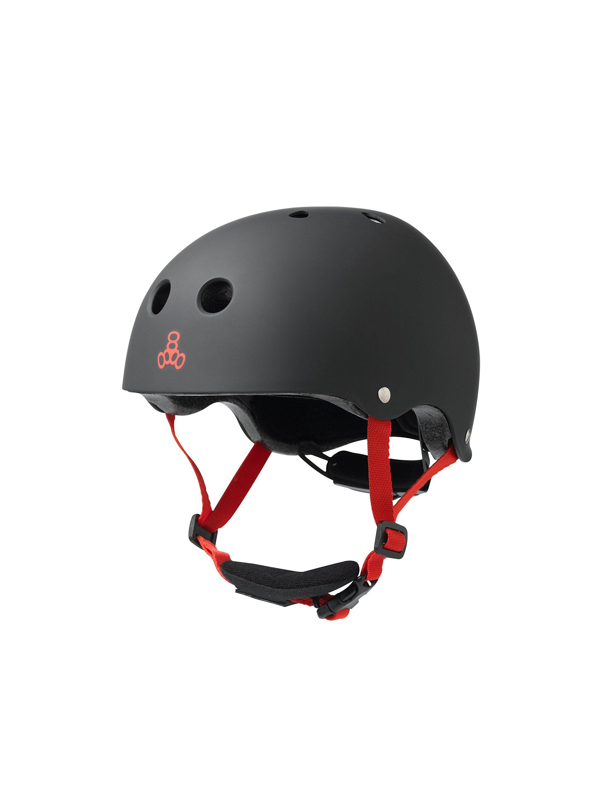 Triple Eight Lil 8 Dual Certified Sweatsaver Kids Skateboard and Bike Helmet with Padded Chin Buckle, Black Rubber