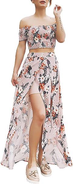 Faldas Mujer Verano Playa Elegante Barco Cuello Sin Tirantes ...