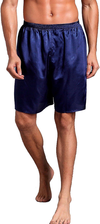 Mobarta Men's Satin Boxers Shorts Pajama Bottom Boxers Comfortable Satin Underwear
