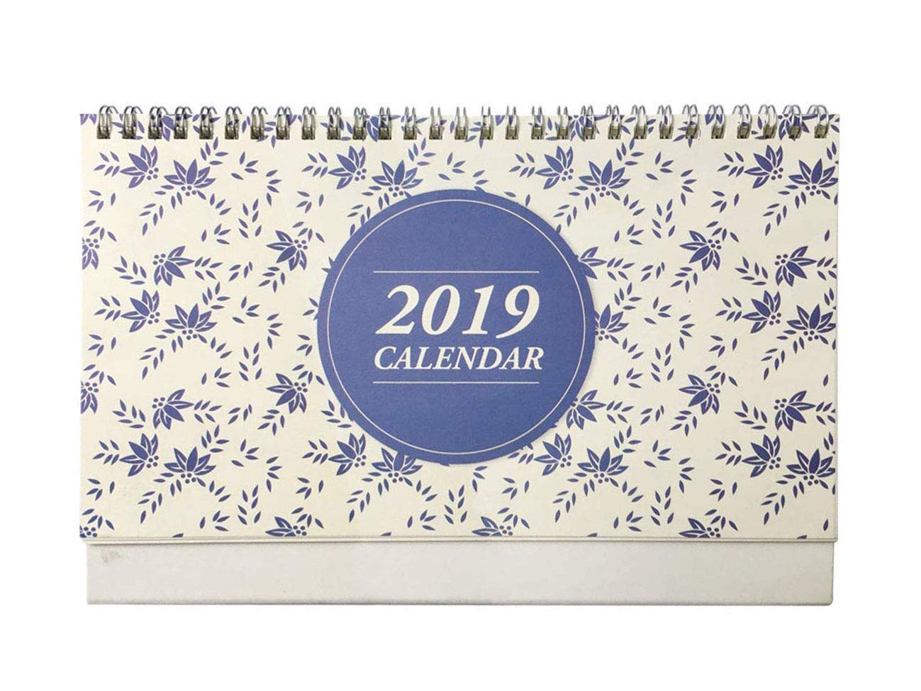 Desk Calendar 2018-2019, Runs from October 2018 to December 2019, Twin-Wire Binding, Desktop Calendar Monthly Planner Daily Calendar Planner for School, Office, Home Use - Blue Flower Patter