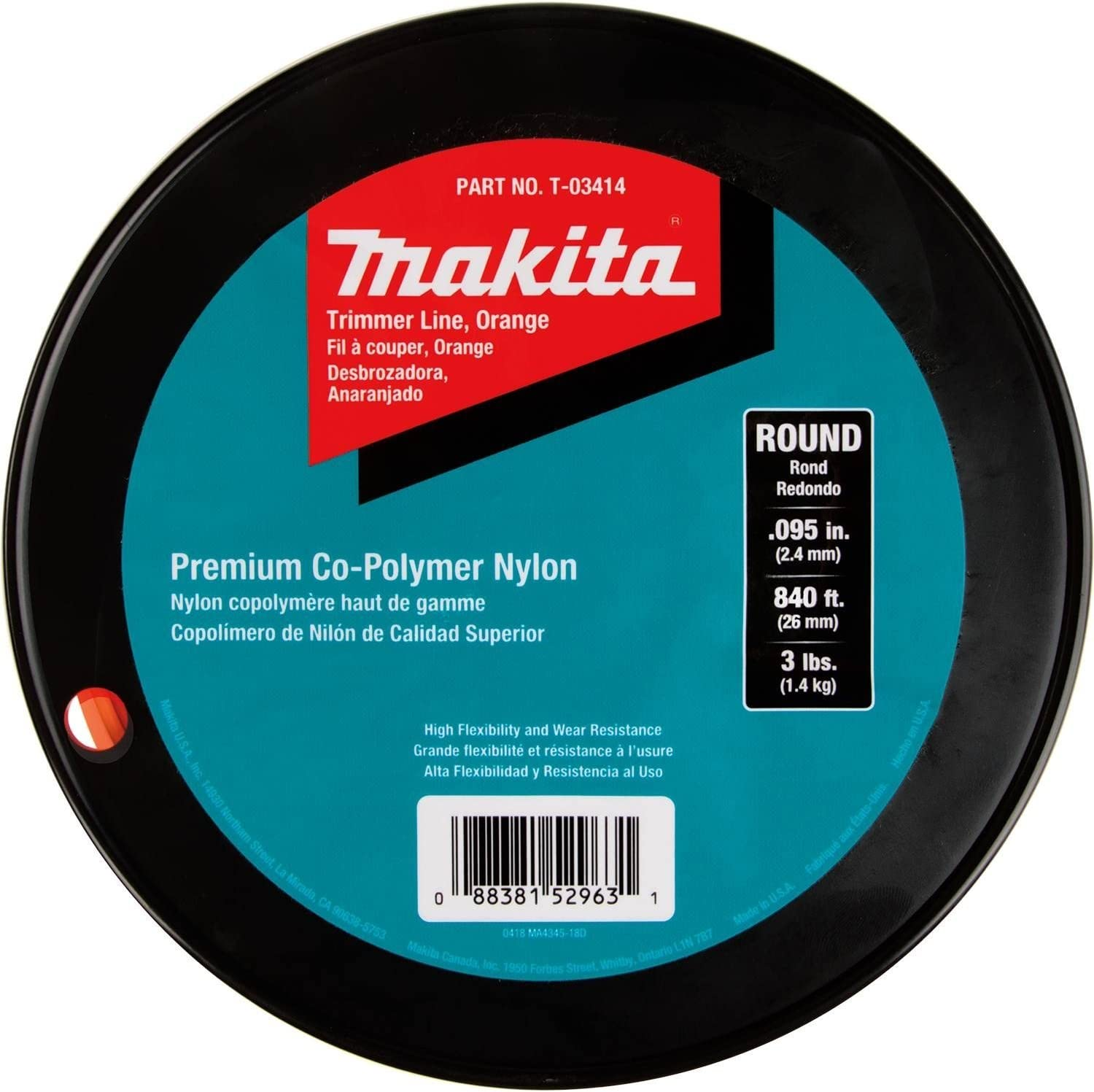 Amazon.com : Makita, Orange, T-03414 Round Trimmer Line ...