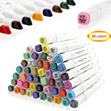 Dual Tips Art Markers, CUXUS 40 Colors Permanent Twin Marker Pens Artist Sketch Highlighters with Carrying Case, for Painting Coloring Drawing Highlighting Underlining and Manga Animation Design