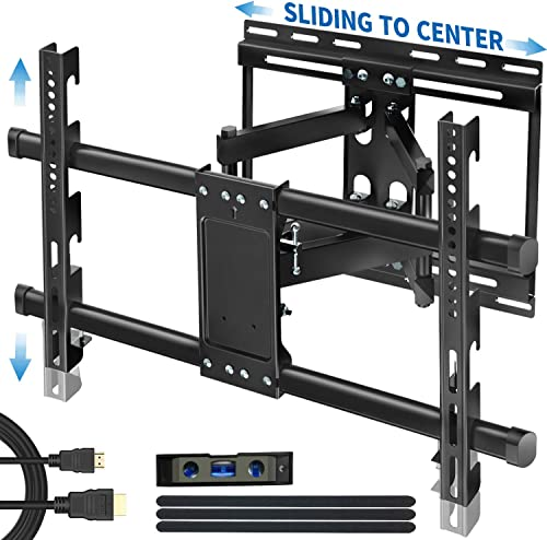 Full Motion Articulating TV Wall Mount Bracket with Sliding Design for 32-83 Inch TVs, Easy for TV Centering on Wall, TV Wall Mount Fits Most Smart OLED TVs – Easy Install Levels After Mounting