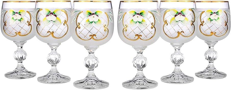 Crystalex 6pc Bohemia Colored Crystal Vintage Pink Enamel Wine Goblets Set Hand Made 24K Gold-Plated