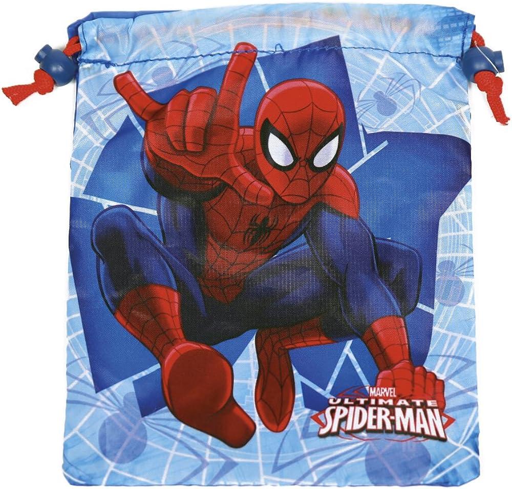 PERLETTI - Saco Lonchera Niño Marvel Spiderman - Bolsita Escolar Porta Alimientos Estampado Hombre Araña - Bolsa de Cincha Zapatos con Cordón de Viaje Escuela - Rojo y Azul - 23x20 cm
