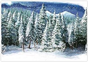 Allenjoy 7x5ft Winter Landscape Backdrop for Studio Photography Christmas Forest Wonderland Snowflake Scene Holiday Pictures Background Newborn Party Decorations Children Portrait Photo Props Supplies