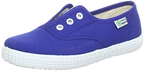 Natural World INGLES - Zapatillas de casa de lona infantil, color azul, talla 24