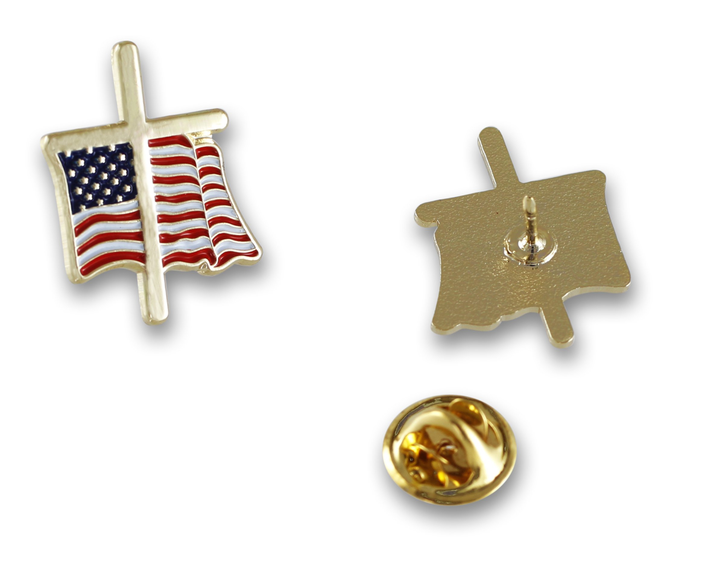 American Flag with Religious Cross Lapel Pin (50 Pins) by Forge (Image #8)