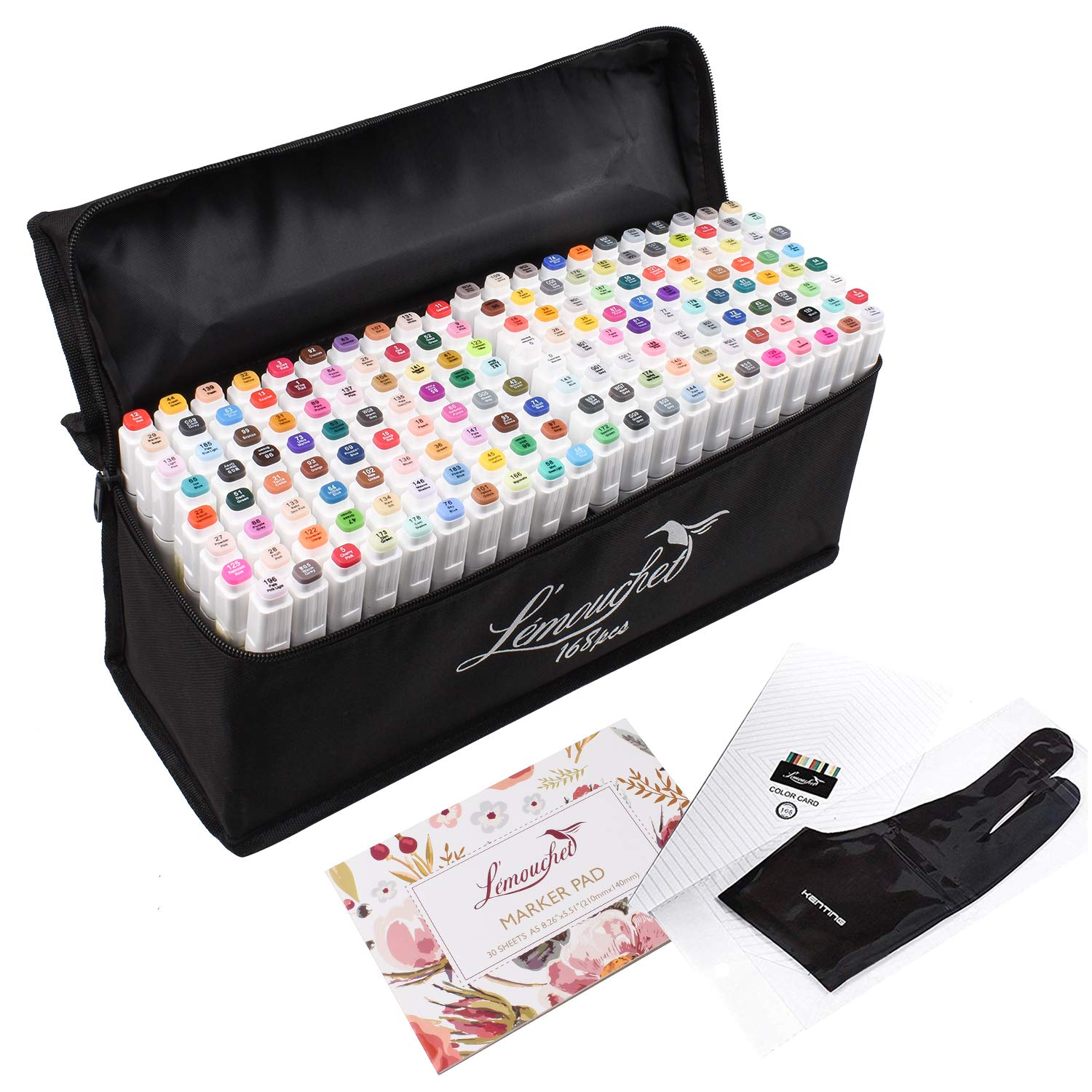 L'émouchet Twin Marker Pens 168+2 Colors Dual Tips Art Animation Blender Pens with Carrying Case for Sketch Coloring Painting Highlighting Underlining Render Manga and Design