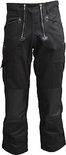 TMG® Pantalone da Lavoro per Carpentiere - 2 Chiusure Lampo - Uomo - Nero - qualità 400gsm
