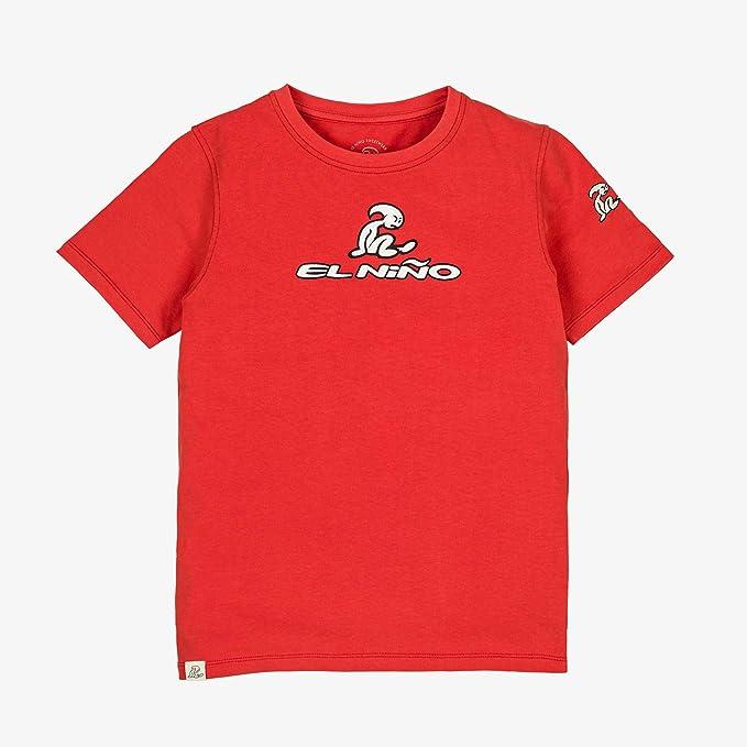 El Niño - Camiseta de Manga Corta con Logo Frontal para niños - Azul y Roja: Amazon.es: Ropa y accesorios