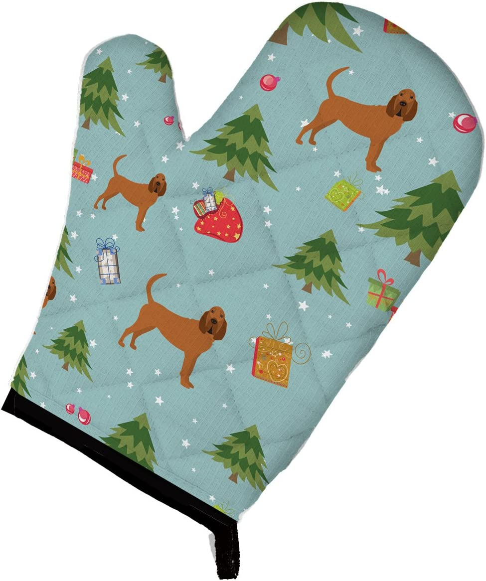 Caroline's Treasures BB4912OVMT Christmas Bloodhound Oven Mitt, Large, multicolor