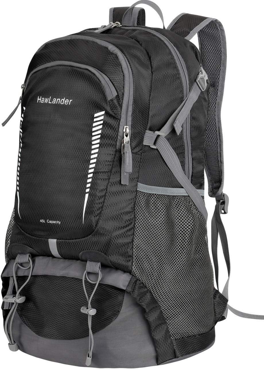 HawLander Hiking Backpack Packable Travel Daypack,Lightweight,Large 45L