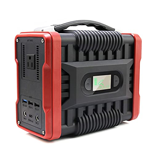 U King Portable Power Station, 200W Peak 320W Solar Generator Portable Lithium Battery Supply Backup with 110V AC Outlet,2 DC Ports,QC3.0 USB LED Flashlight for CPAP Outdoor Camping Home Emergency