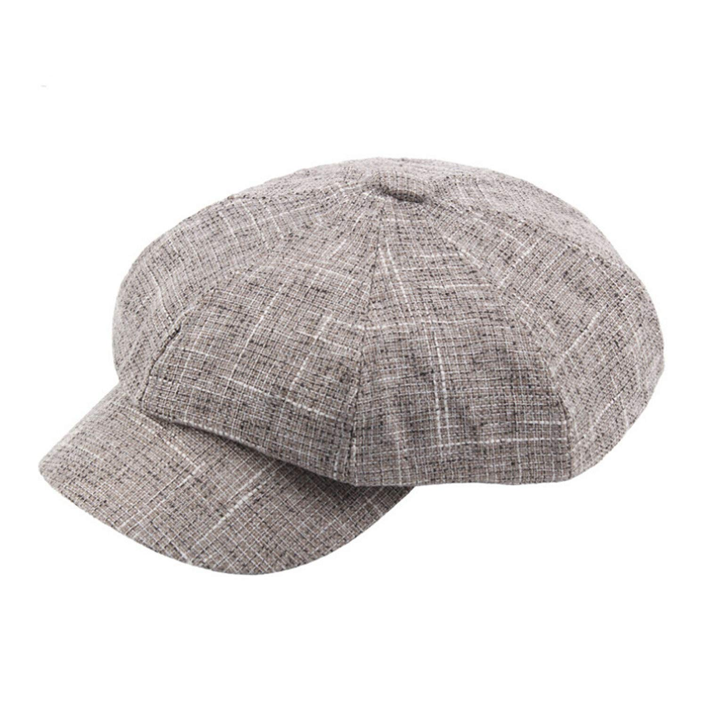 Unisex Winter Vintage Plaid Twill Acrylic Newsboy Cap Vintage Casual Unadjustable Keep Warm Hats for Women Men