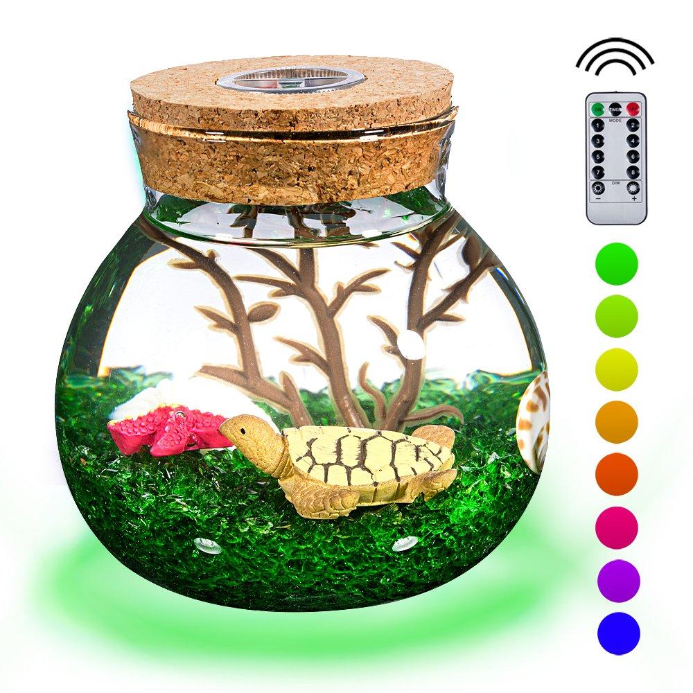 PROLOSO Wireless Micro-landscape Bottle Lights Aquarium Kit - Creative Stylish Romantic DIY Sensory Toys and Decoration - Turtle Series