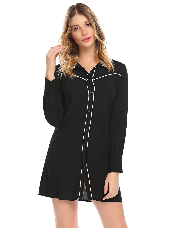 68937a7da3 EKOUAER Damen Langarm Baumwolle Nachthemd Nachtkleid Nachtwäsche Lange  Hülsen Sleepshirt