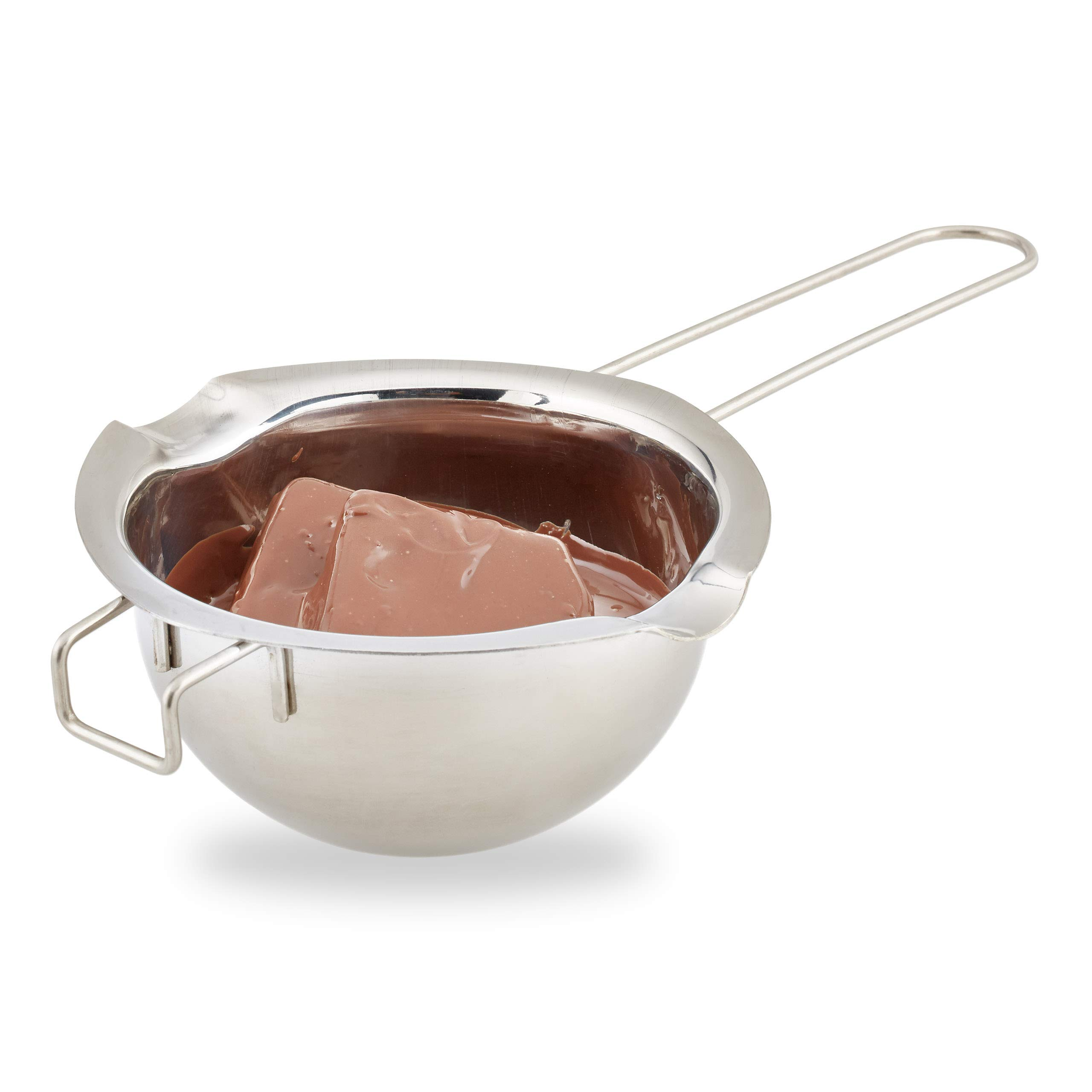 Relaxdays Stainless Steel Melting Pot, HxWxD: 6 x 24 x 14 cm, Temperature Control, Double Boiler for Butter, Metal, Silver